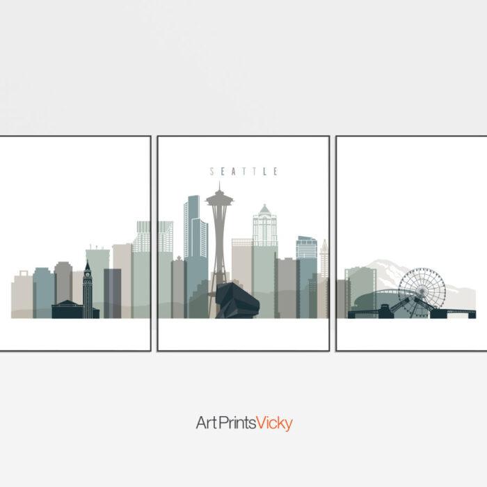 Seattle skyline art set of 3 prints earth tones 4