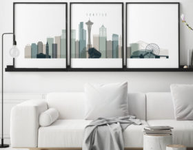 Seattle skyline art set of 3 prints earth tones 4 second