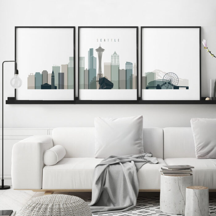 Seattle skyline art set of 3 prints earth tones 4 second