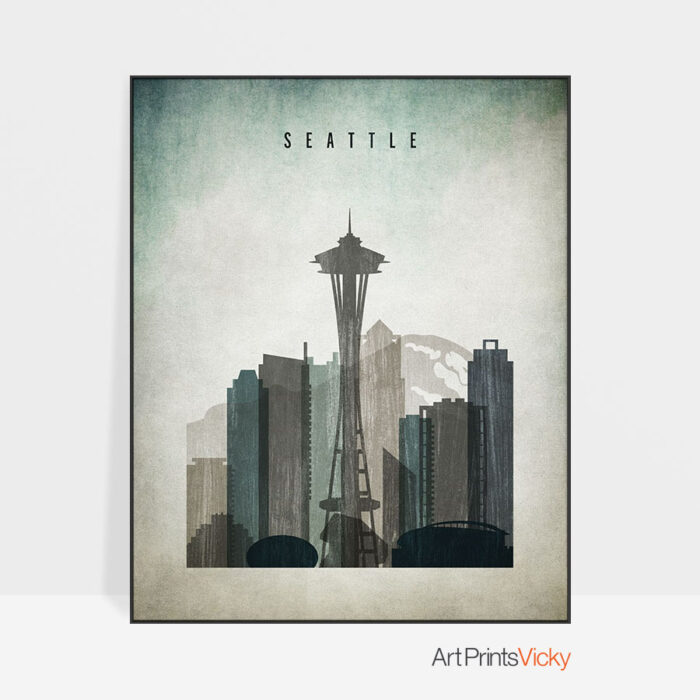 Seattle poster distressed 3