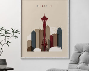 Seattle poster earth tones 2 second