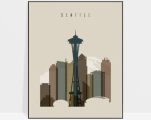 Seattle art print earth tones 3