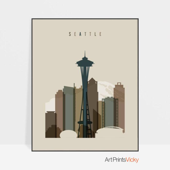 Seattle art print earth tones 3