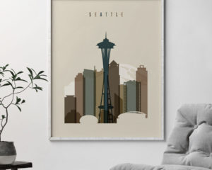 Seattle art print earth tones 3 second