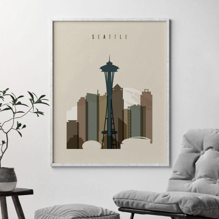 Seattle art print earth tones 3 second
