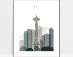 Seattle art print skyline earth tones 4