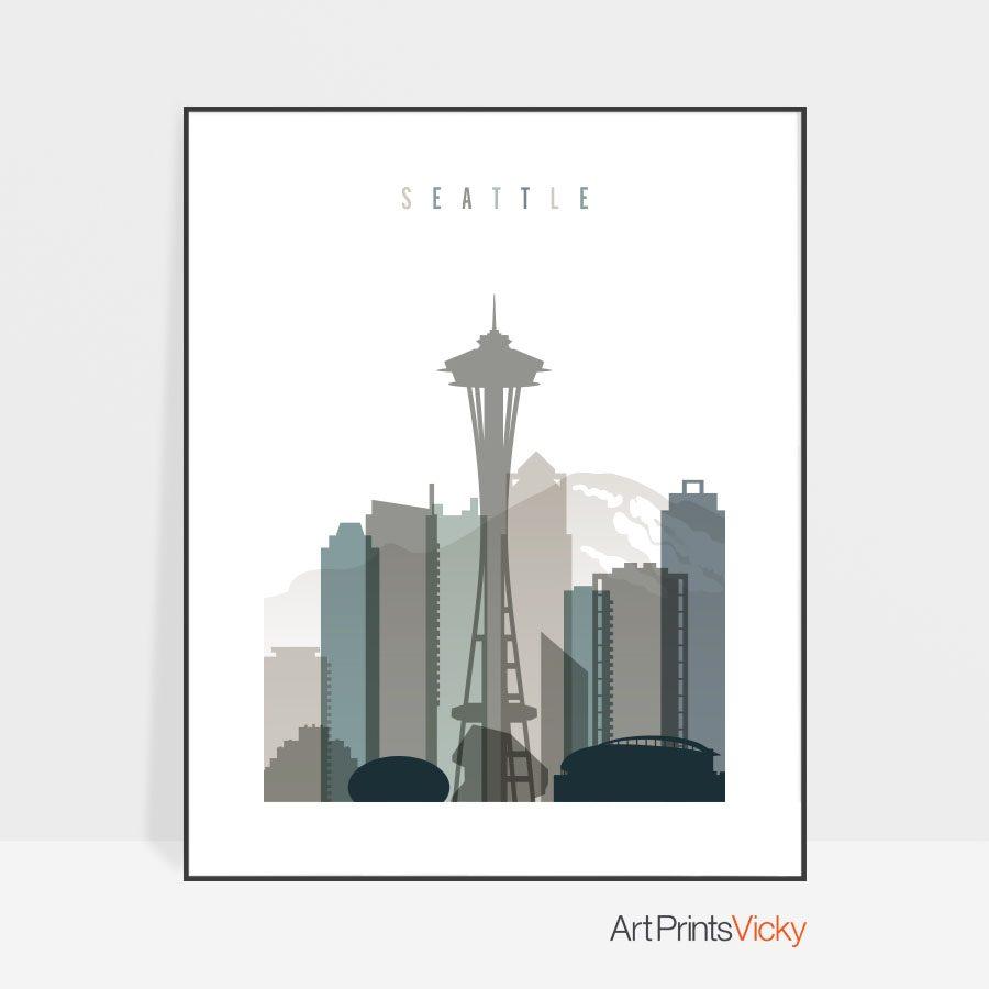 Seattle art print skyline earth tones 4