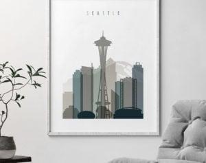 Seattle art print skyline earth tones 4 second