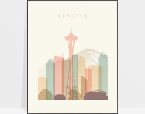 Seattle art print skyline pastel cream