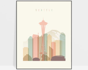 Seattle art print skyline pastel cream