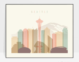 Seattle skyline print pastel cream landscape