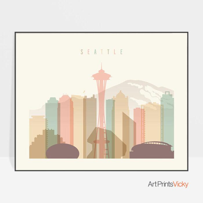 Seattle skyline print pastel cream landscape