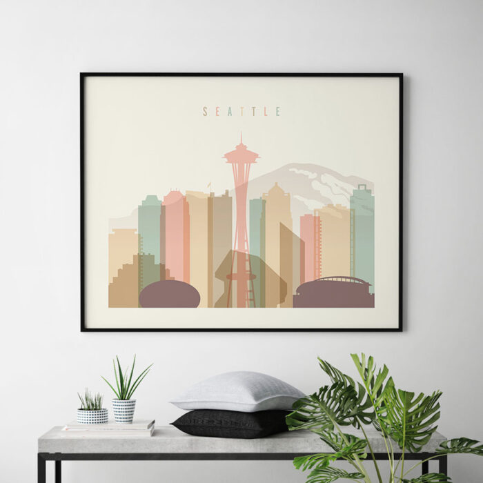 Seattle skyline print pastel cream landscape second