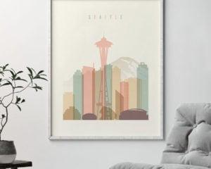 Seattle art print skyline pastel cream second