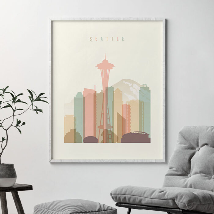 Seattle art print skyline pastel cream second