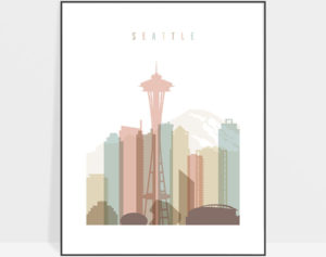 Seattle skyline wall art pastel white