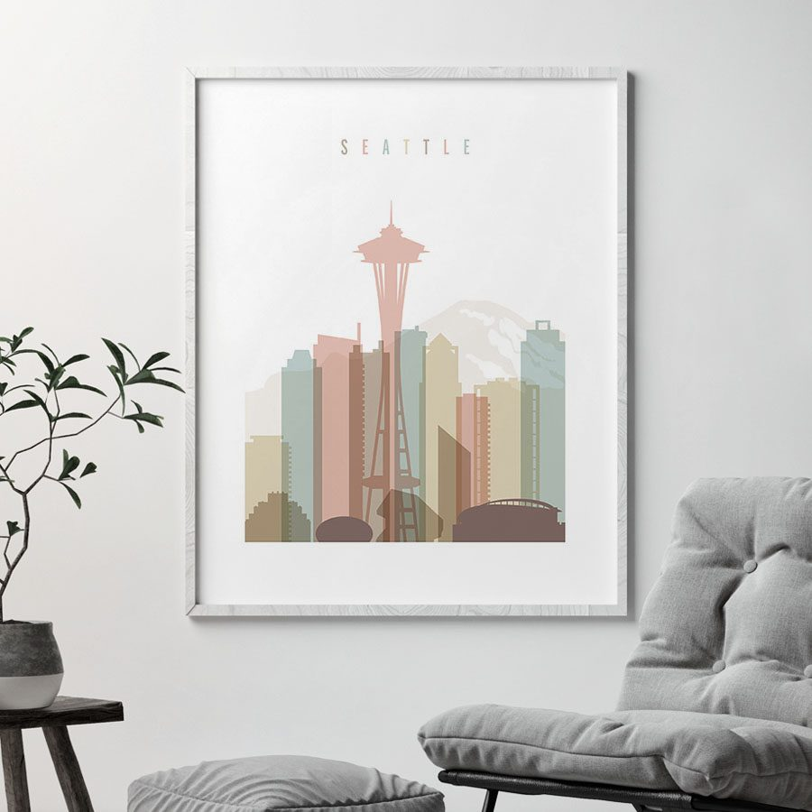 Seattle skyline wall art pastel white second