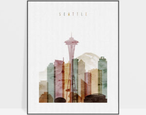 Seattle skyline art watercolor 1
