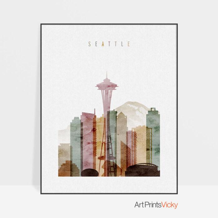Seattle skyline art watercolor 1