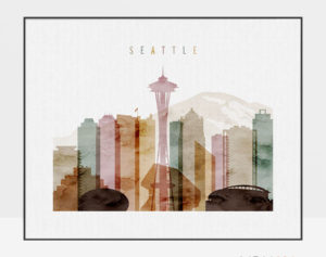 Seattle poster watercolor 1 landscape