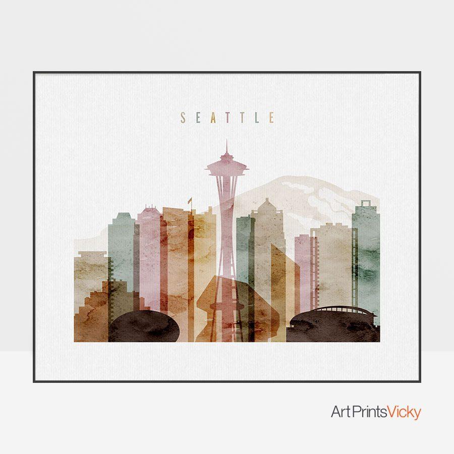 Seattle poster watercolor 1 landscape
