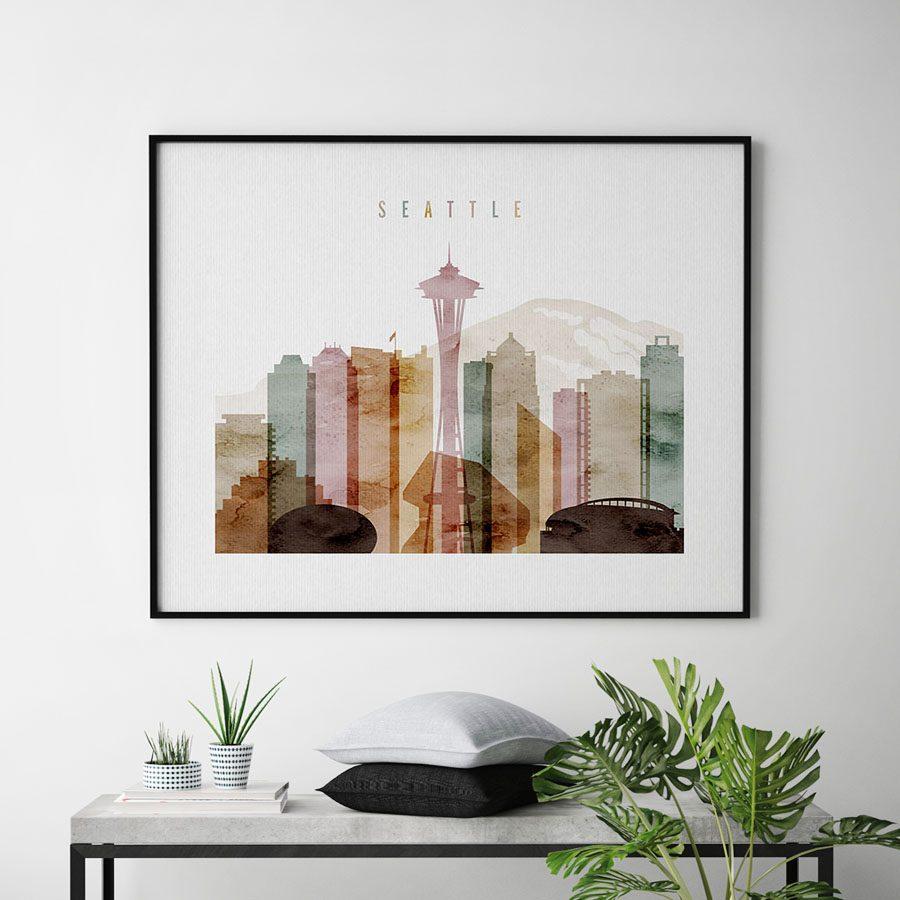 Seattle poster watercolor 1 landscape second