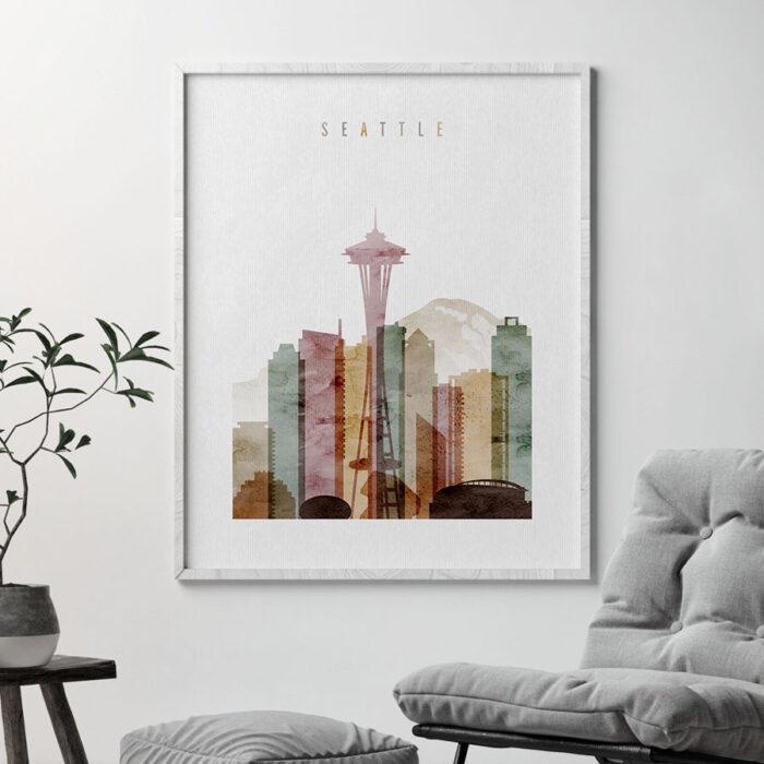 Seattle skyline art watercolor 1 second