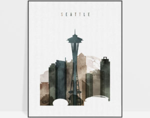 Seattle print watercolor 2