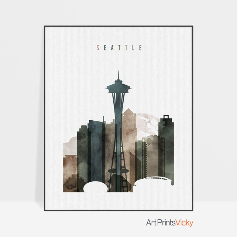 Seattle print watercolor 2
