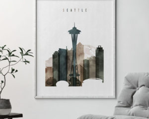 Seattle print watercolor 2 second