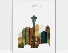 Seattle skyline poster watercolor 3