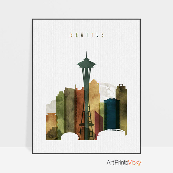 Seattle skyline poster watercolor 3