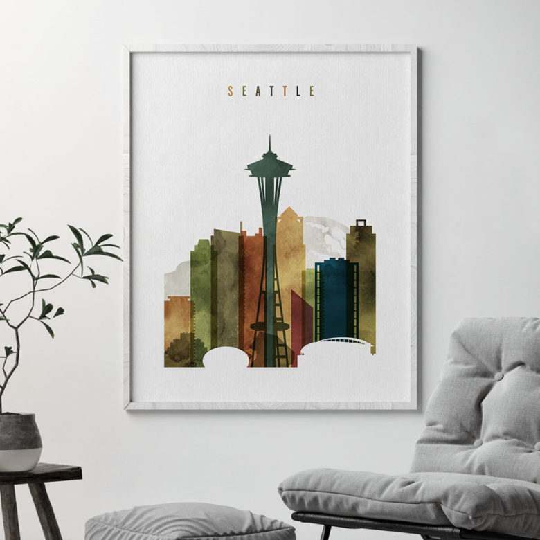 Seattle skyline poster watercolor 3 second
