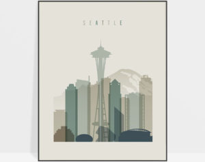Seattle print skyline earth tones 1