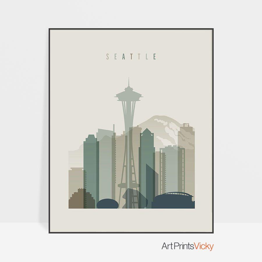 Seattle print skyline earth tones 1