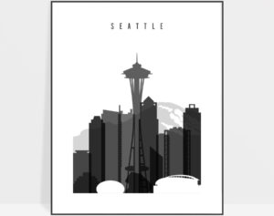 Seattle skyline black and white art