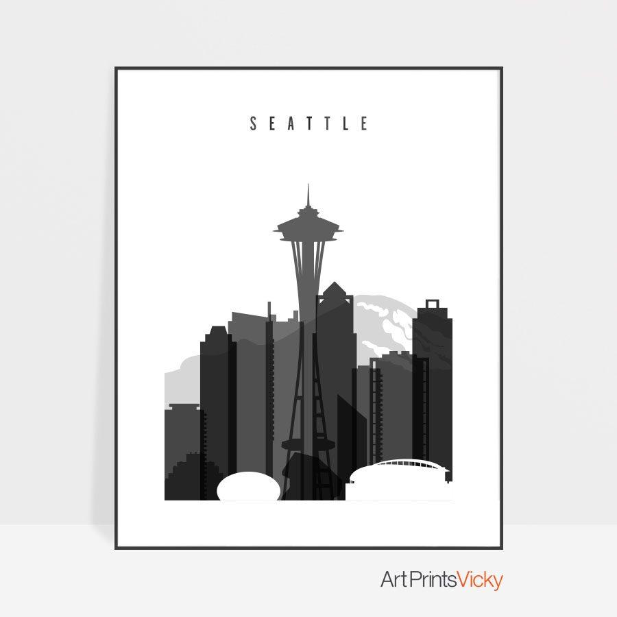 Seattle skyline black and white art