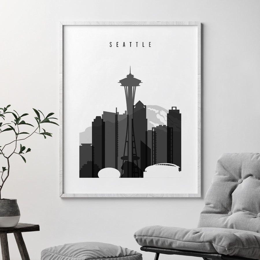 Seattle skyline black and white art second