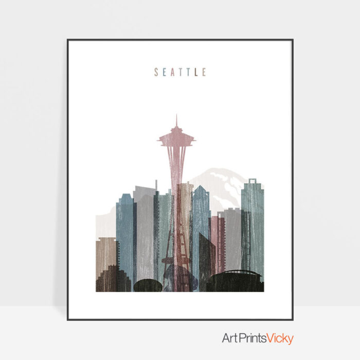 Seattle skyline poster distressed 1