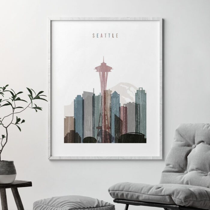 Seattle skyline poster distressed 1 second
