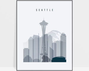 Seattle skyline poster grey blue