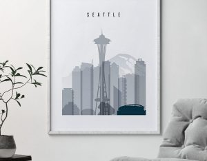Seattle skyline poster grey blue second