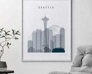 Seattle skyline poster grey blue second