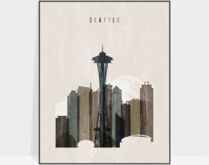 Seattle skyline print distressed 2