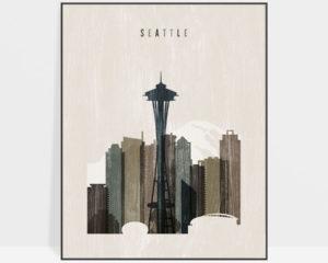 Seattle skyline print distressed 2