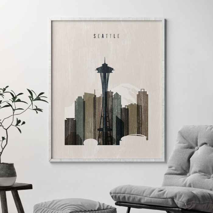 Seattle skyline print distressed 2 second