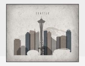 Seattle art print landscape retro