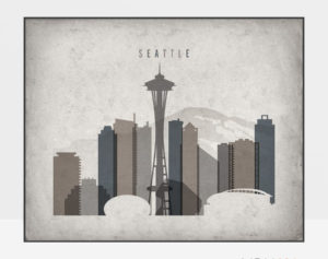 Seattle art print landscape retro