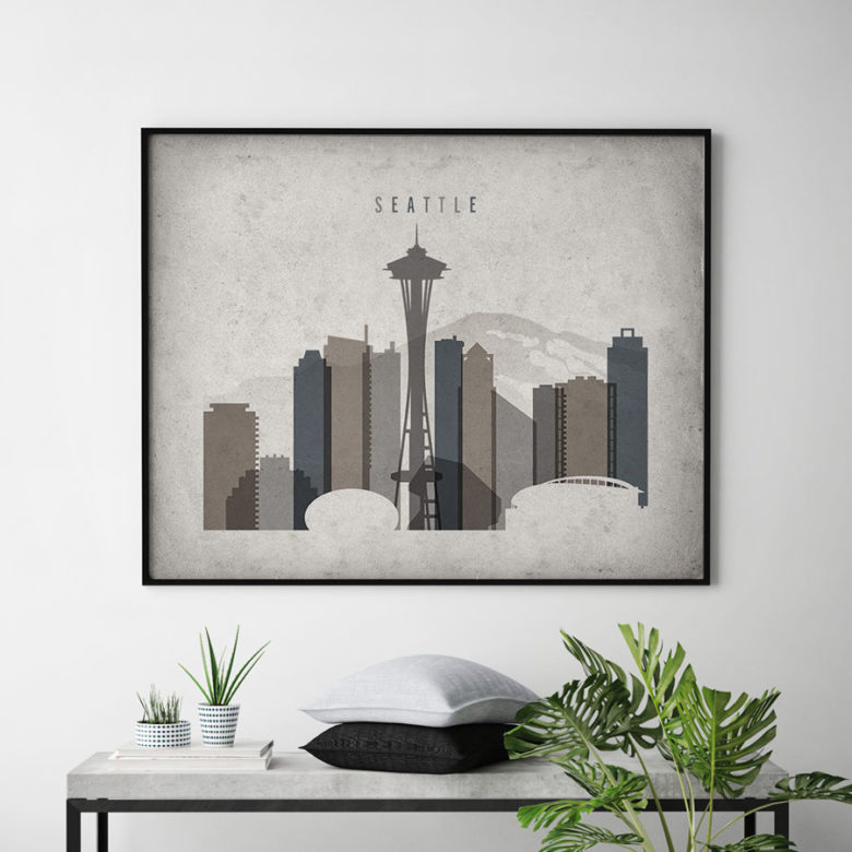 Seattle art print landscape retro second