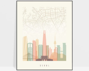 Seoul map print skyline pastel cream